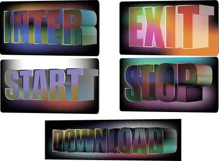 Botões para o site digite exit stop start download Foto de archivo - 73591905