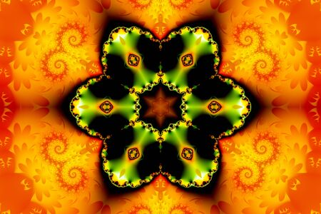 Beautiful abstract figure consisting of a fractal flower and a star on an orange background of fractal curls Фото со стока