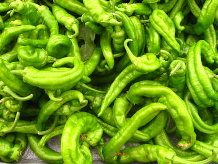 lots of curly peppers