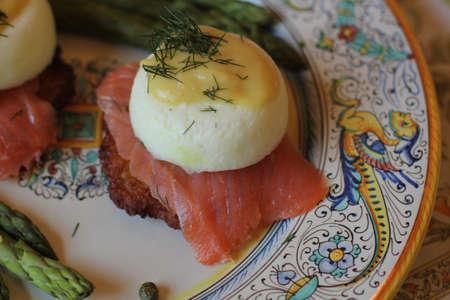 detail of eggs benedict with smoked salmon Banco de Imagens