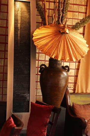 Asian Thai scene with umbrella