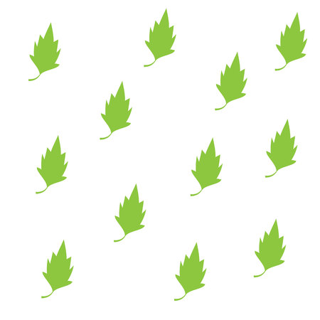 vegetate: green leaves design elements icon set vector illustration.