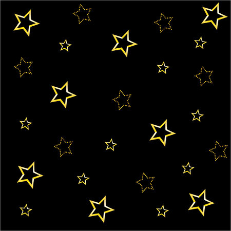 meteor shower: black background with golden stars Illustration