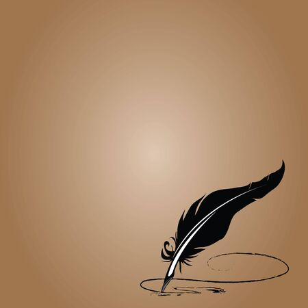 feather vector: Feather vector brown background with space for text Illustration