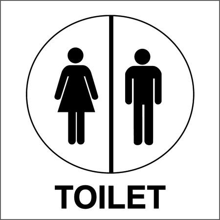 inodoro: Ba�o o aseo signo masculino y femenino ilustraci�n vectorial