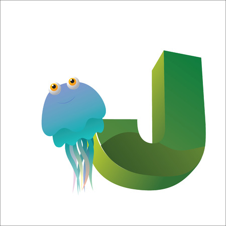 J jellyfish alphabet Vector . Hand drawn letters. Letters of the alphabet written.