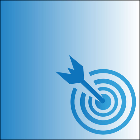 Pictograph of target, goal blue background vector