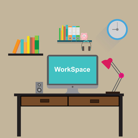 console table: odern workplace in room or office Illustration vector