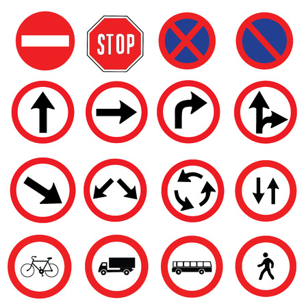 different highly detailed and fully editable vector Traffic-Road Sign Collection. ready to use
