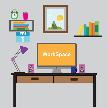 odern workplace in room or office Illustration vector