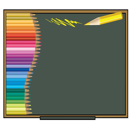 color pencil Vector illustration on a blackboard background