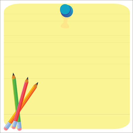 Empty paper sheet and lined notepad pages and pencil for attaching paper Vector EPS10
