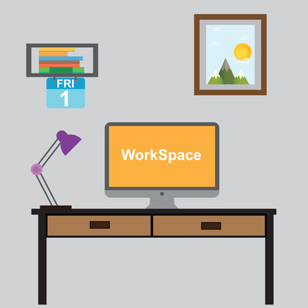 modern workplace in room or office Illustration vector eps10