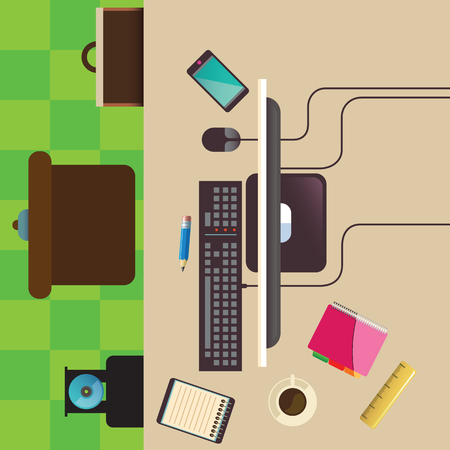 Illustration of modern workplace in room. vector 矢量图像