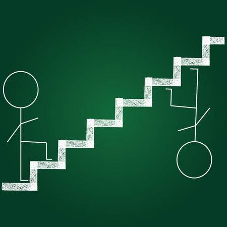 stairway: human on and under stairway background vector