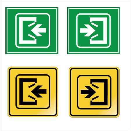 emergency exit: Emergency exit icons vector set Illustration