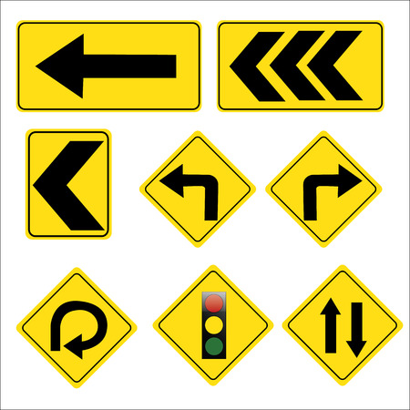 curve ahead sign: yellow road signs, traffic signs vector set on white background