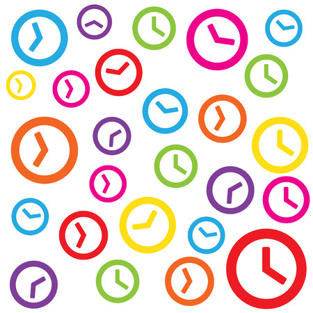 colorful clock white background for time management