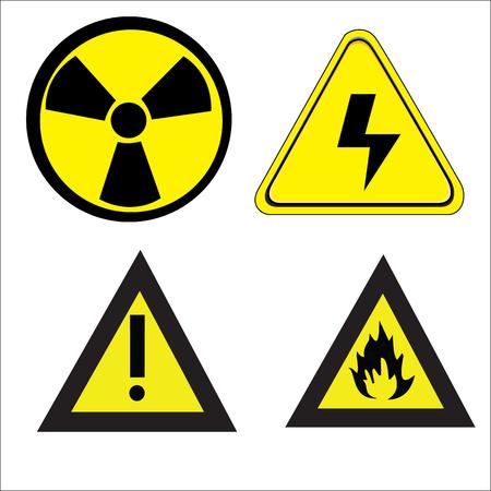 vector skull danger sign: vector danger icons set
