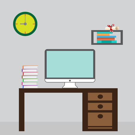 Illustration of modern workplace in room. Flat minimalistic style design