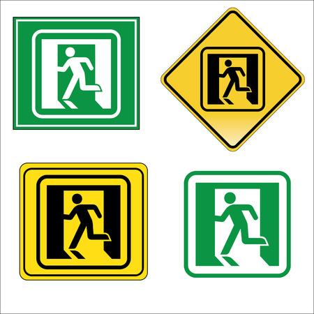 Emergency exit icons vector set 矢量图像