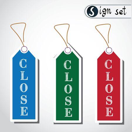 Close Sign set Icon Illustration