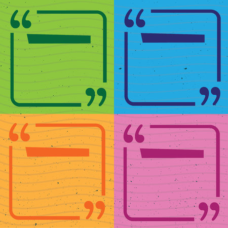 Colored quote frames templates set illustration. Think and talk with quotes marks.