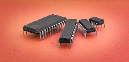 integrated circuits: Various integrated circuits on a colored background