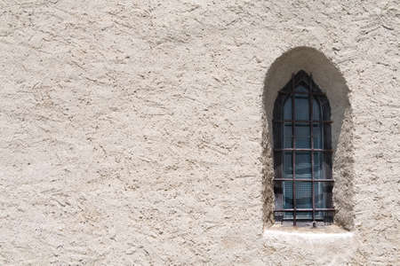 space for writing: Gothic window in a mountain church space for writing