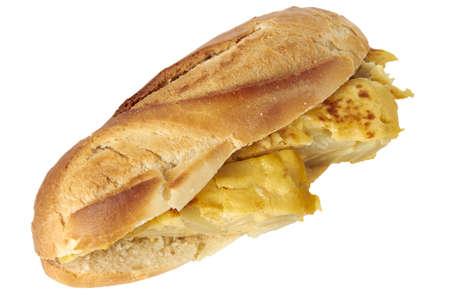 Spanish omelette sandwich isolated on white