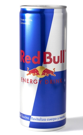 250ml Red Bull energy drink can. Isolated on white