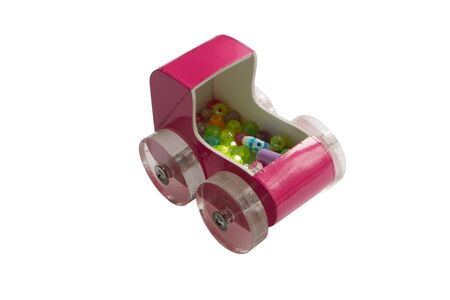 incarnadine: childrens toy stroller with beads and transparent wheels