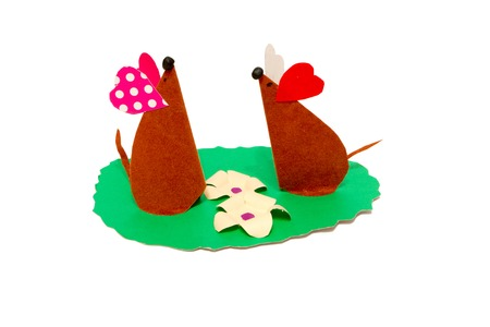 fiddles: childrens creativity from paper two mouse on the lawn Stock Photo