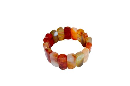 carnelian: Bracelet made of carnelian. Isolate on white background