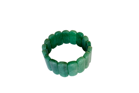 choker: Bracelet green aventurine. Isolate on white background