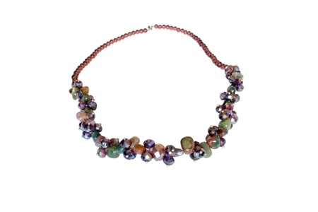 concretion: Necklace made of jasper and zirconr on a white background
