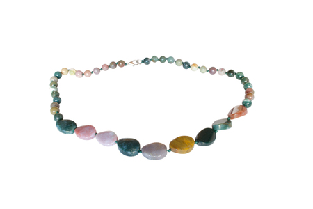 jasper: Beads from natural jasper on a white background Stock Photo