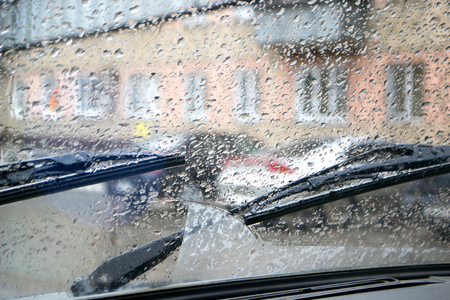 Raindrops on the car glass