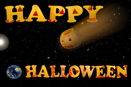 Postcard with the words Happy Halloween. The Death Star