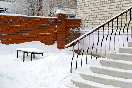 Stairs to the house. After the snowfall.