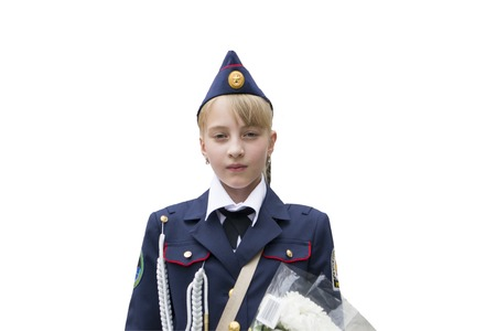 A girl in cadet uniform. Isolate.