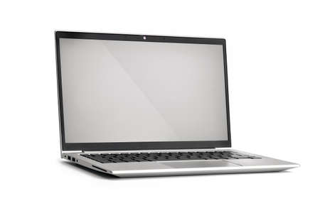Laptop with gray screen. Isolated on white background.