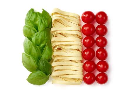 bandera italiana: Tricolore, comida italiana Foto de archivo