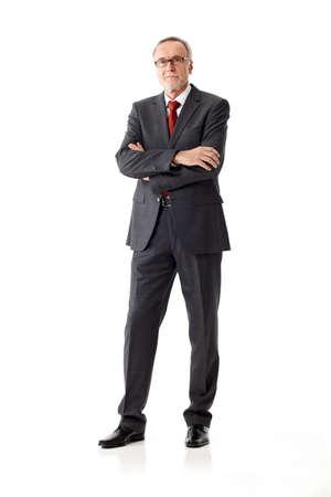 respectable: Respectable senior business man standing on white  Stock Photo
