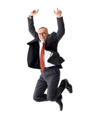 Jumping business mature man