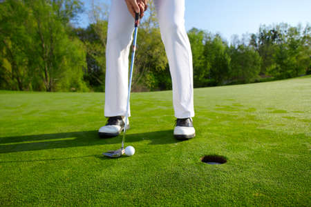 Golfer on green is putting Stockfoto