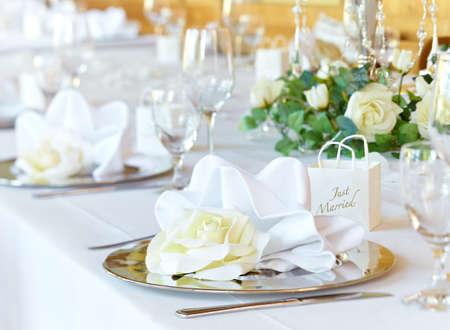 banqueting: Wedding banqueting table Stock Photo