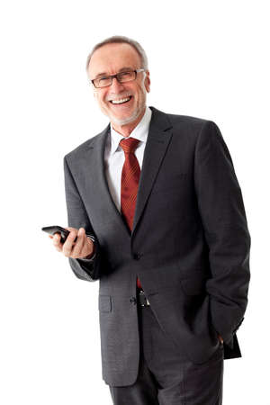 Mature business man with smart phone, isolated Фото со стока
