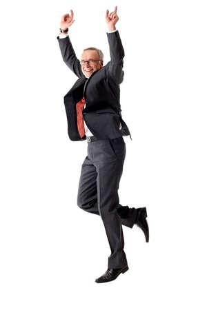 Jumping isolated mature business man