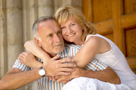 joyfull: Love couple with age difference Stock Photo